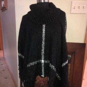 Beautiful and soft black and white knit poncho
